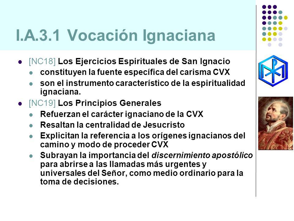 I.A.3.1 Vocación Ignaciana [NC18] Los Ejercicios Espirituales de San Ignacio. constituyen la fuente específica del carisma CVX.